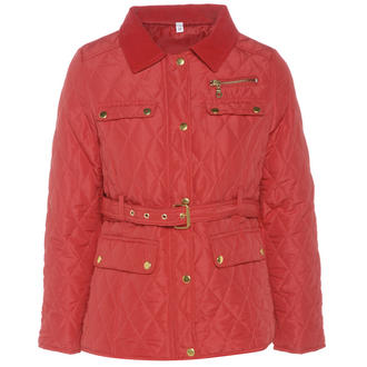 View Item Red Belted Diamond Quilted Coat with Cord Collar